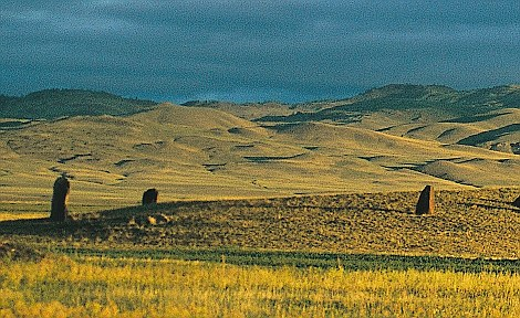 Ancient Turkic tomb stones on steppes of Hakasia, Central Siberia, Russian Federation.. Image shot 2006. Exact date unknown.