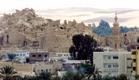A VIEW OF THE OLD AND NEW CITY OF SIWA IN EGYPT'S WESTERN DESERT.